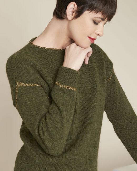 Kakifarbener Pullover mit goldfarbenen Streifen Bindies (2) - 1-2-3