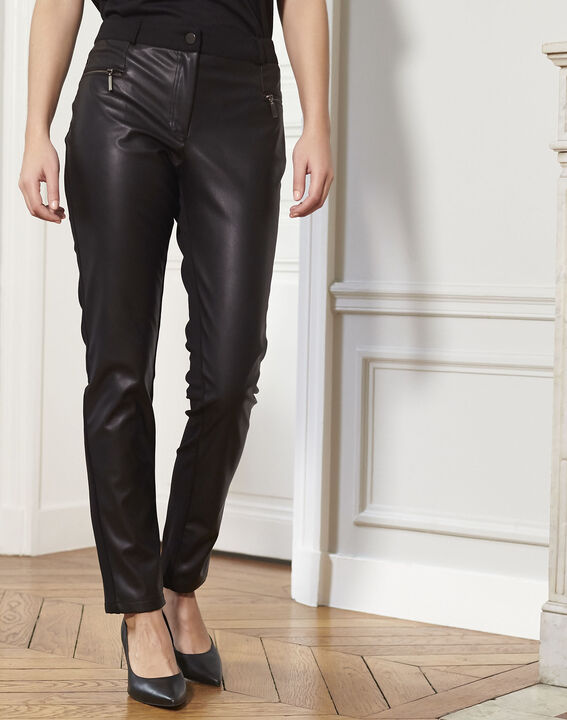 Hectotrine black slim-fit trousers in milano fabric PhotoZ | 1-2-3