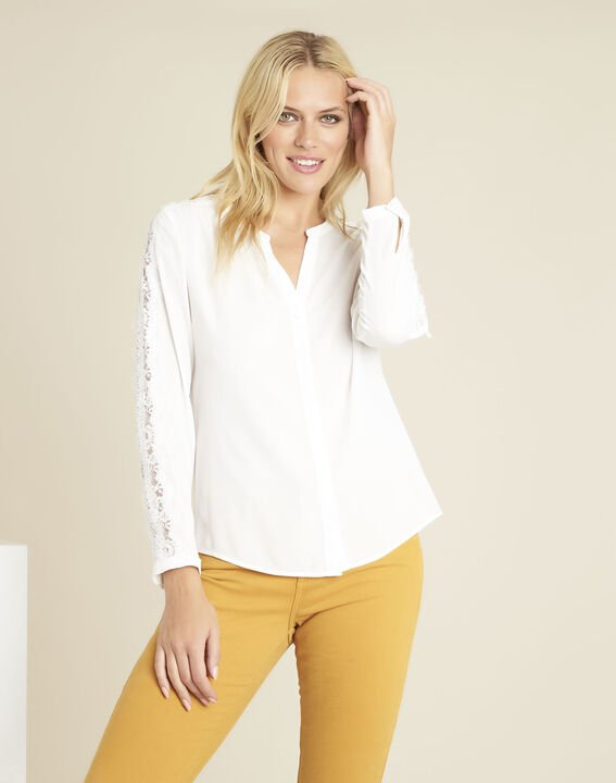 Blouse écru empiècements dentelle Claudia PhotoZ | 1-2-3