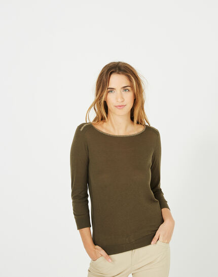 Pétillant khaki sweater with metallic threading (2) - 1-2-3