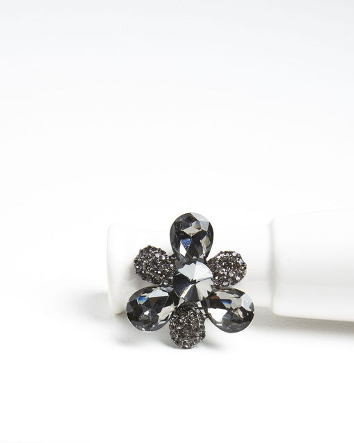 Broche trefle argent et pierres noires Xiao (2) - 1-2-3