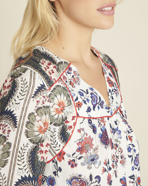 Cécile ecru blouse with floral print (1) - 1-2-3