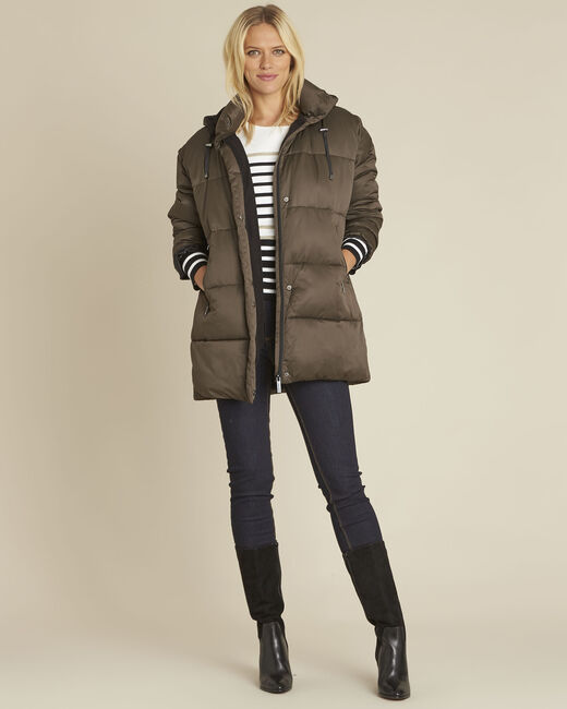 Pamela khaki hooded and quilted down jacket (1) - 1-2-3