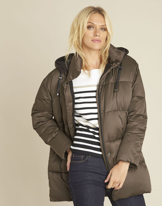 Pamela khaki hooded and quilted down jacket PhotoZ | 1-2-3