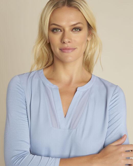 Azurblaue Bluse aus Bimaterial mit V-Ausschnitt Bianca (2) - 1-2-3