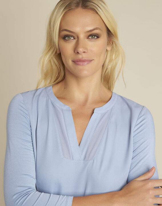 Bianca azure blue bi-material blouse with a V-neck (3) - 1-2-3