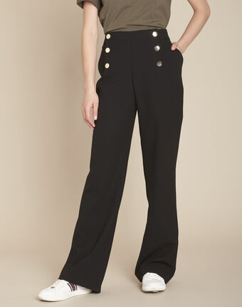 Wide-leg black buttoned trousers black.