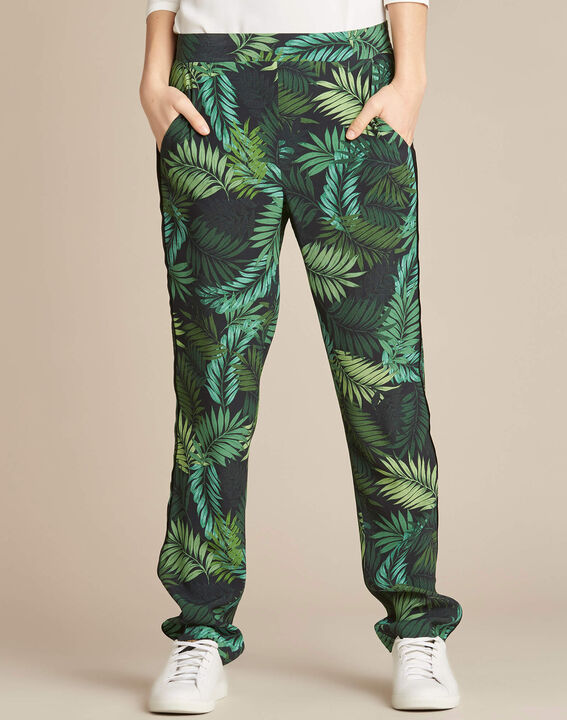 Scotty flowing trousers with leaf print (3) - 1-2-3