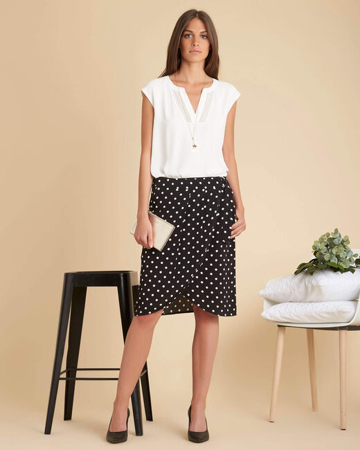 Lorine black polka dot wrap-over T-shirt (2) - 1-2-3