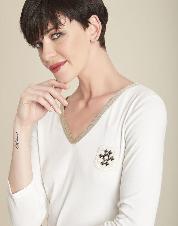 Tee-shirt écru col V plastron Glaive (3) - 1-2-3