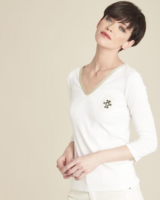 Ecru T-shirt met V-hals en borststuk Glaive (1) - 37653
