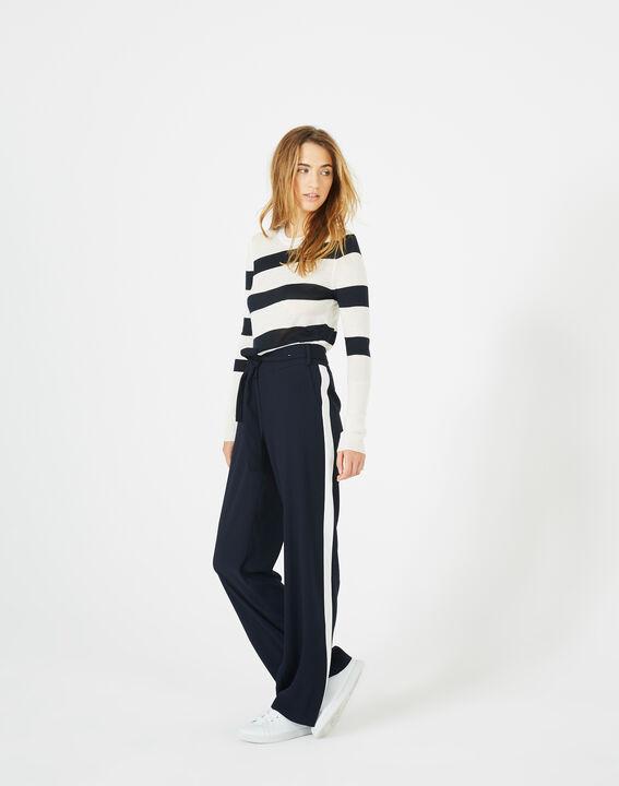 Pantalon bleu marine fluide bande côté Kamelia (2) - 1-2-3