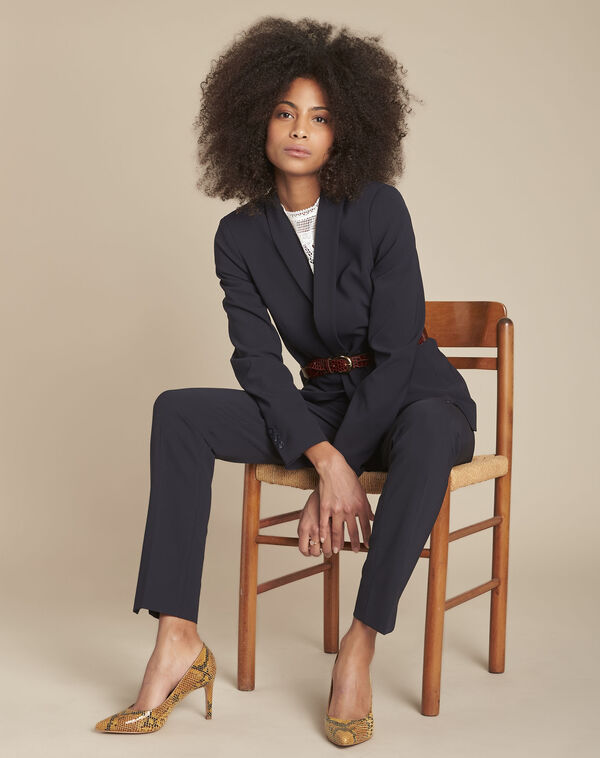 Lara navy slim-cut microfibre trousers (2) - 1-2-3