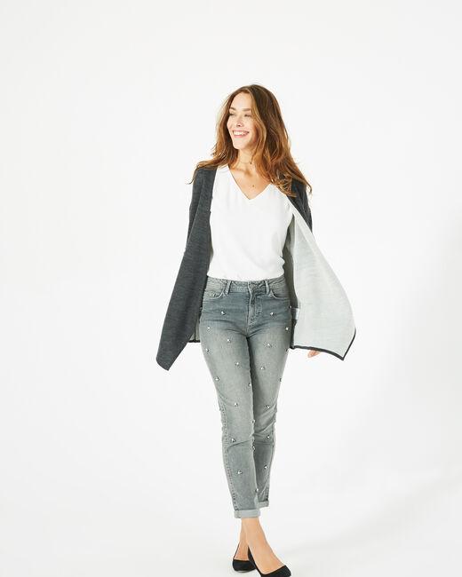 Gilet anthracite long façon veste en laine mélangée (1) - 1-2-3