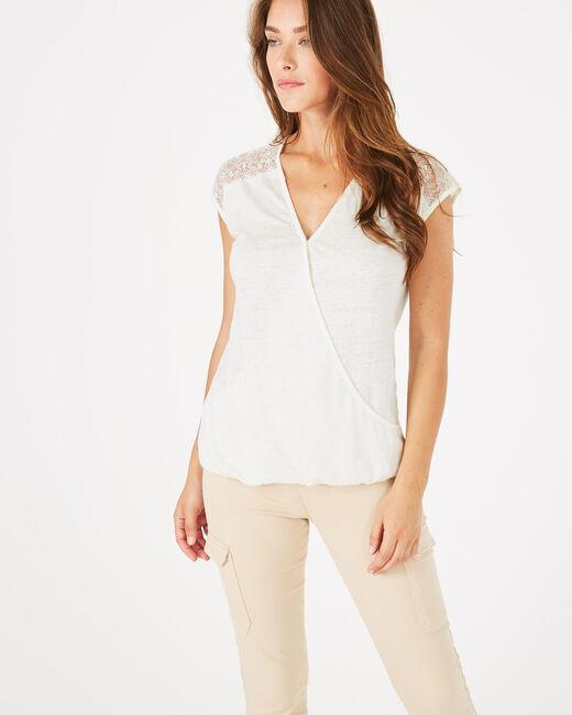 Tee-shirt écru en lin Noha (1) - 1-2-3