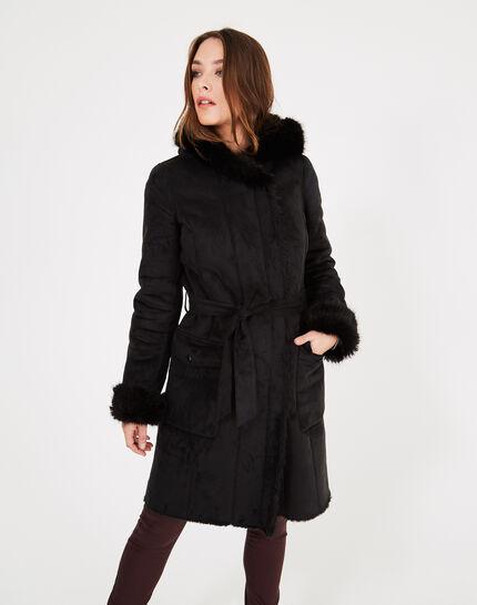 Manteau noir mi-long en peau lainée Lemilia (4) - 1-2-3