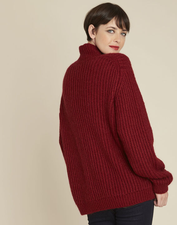 Barca red high collar swirl mohair pullover (4) - 1-2-3