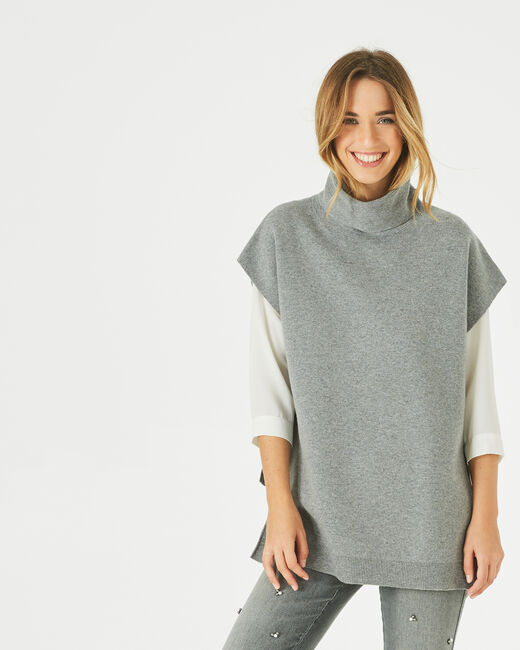 Pepper marl grey wool-blend cape with polo neck (1) - 1-2-3