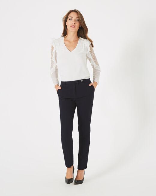 Pantalon jacquard bleu marine Vanille (1) - 1-2-3
