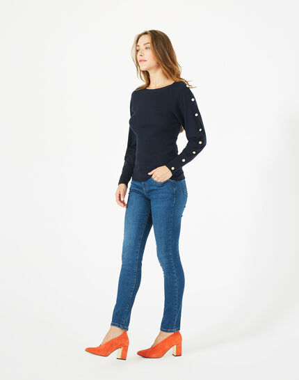 Philo woolen navy blue sweater with stylish sleeves (1) - 1-2-3