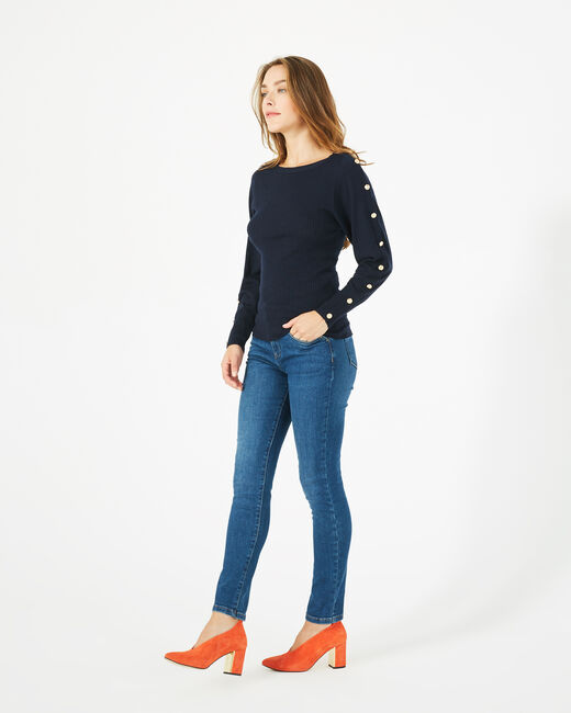Philo woolen navy blue sweater with stylish sleeves (2) - 1-2-3