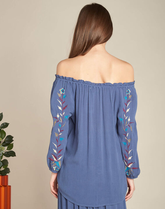Genevieve blue embroidered blouse (4) - 1-2-3