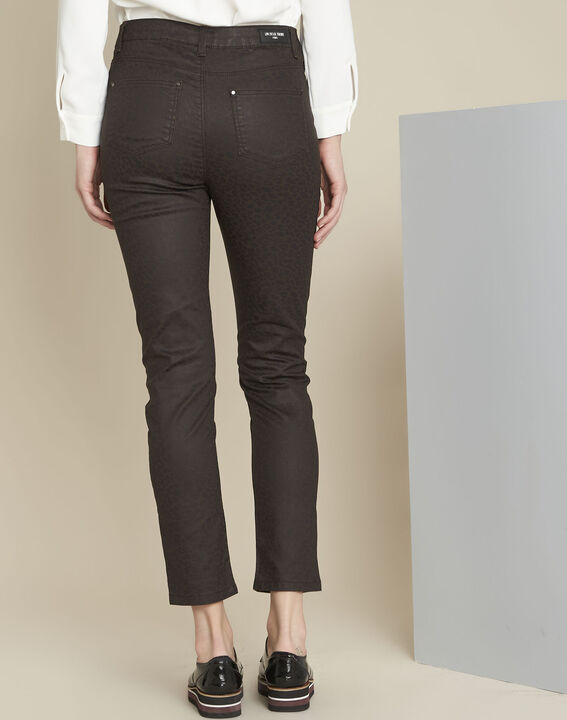 Pantalon marron imprimé léopard slim Vendome (4) - 1-2-3