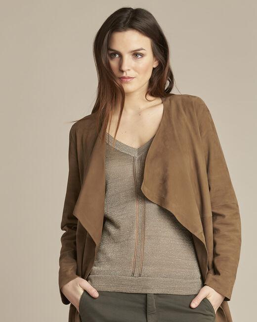 Gaston faux-suede 3/4 length brown waterfall jacket (2) - 1-2-3