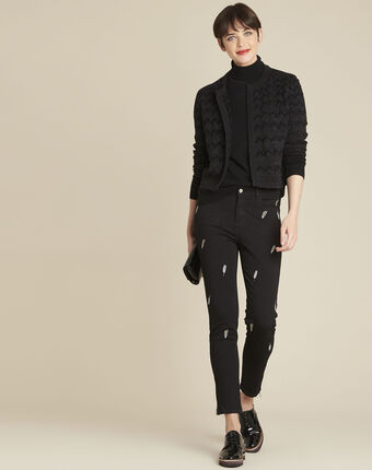 Moon black slim-cut jeans with feather embroidery noir.