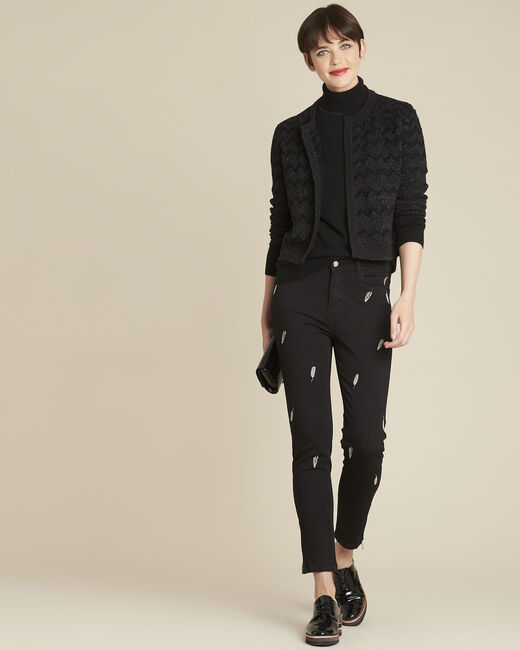 Moon black slim-cut jeans with feather embroidery (1) - 1-2-3