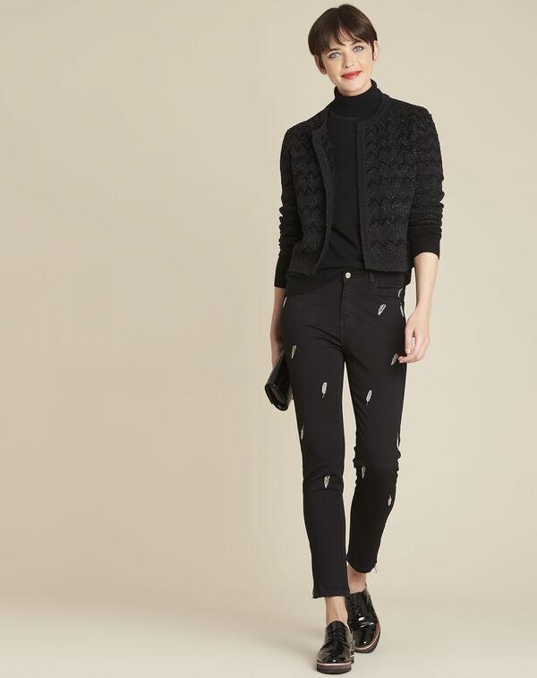 Zwarte slim-fit jeans met geborduurde pluimen Moon (2) - 37653