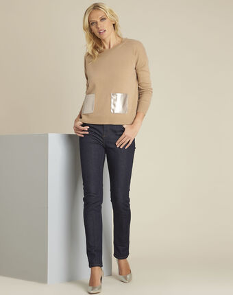 Pull camel laine cachemire poche faux cuir baltic bouton d`or.