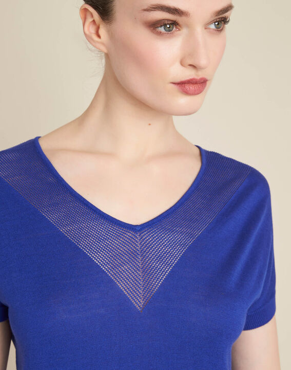 Never royal blue fine-knit sweater with openwork neckline PhotoZ | 1-2-3