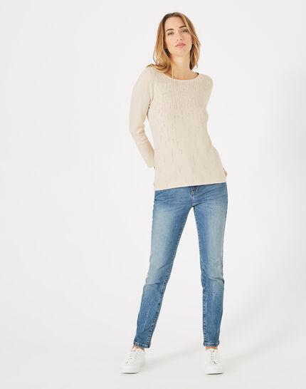 Beigefarbener Pullover mit Rundhalsausschnitt und Strass Pluie (1) - 1-2-3