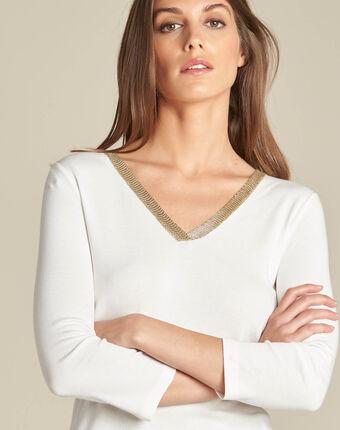 Etincelant off-white blouse with romantic neckline ecru.