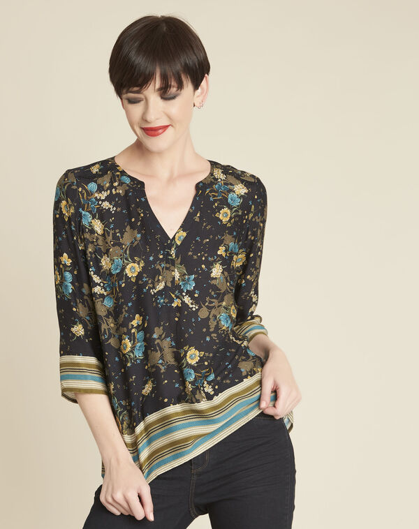 Zwarte blouse met bloemenprint Arletty (2) - 37653