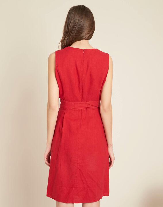 Poppy red linen dress with belt (4) - 1-2-3