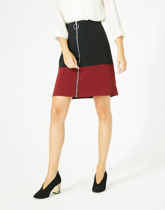 Jupe bicolore noire et carmin Fleury (3) - 1-2-3