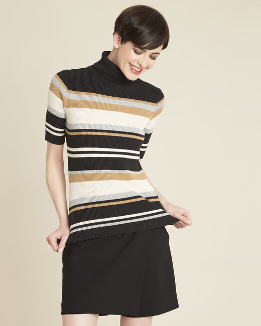 Barthe black striped sweater with polo-neck (2) - 1-2-3
