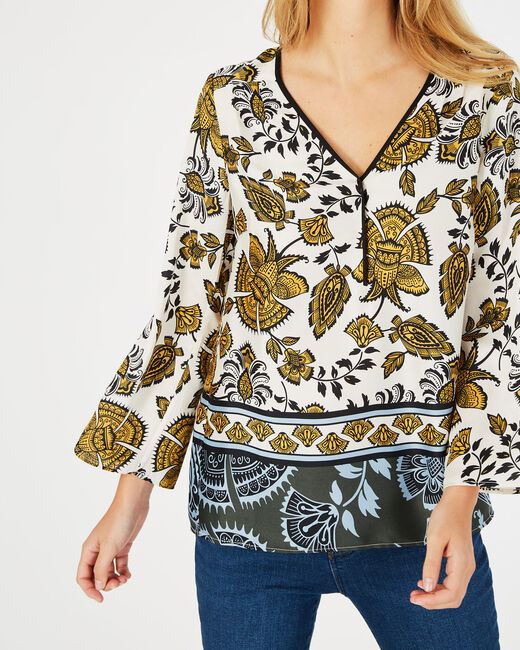 Douna yellow printed blouse with V-neck (2) - 1-2-3