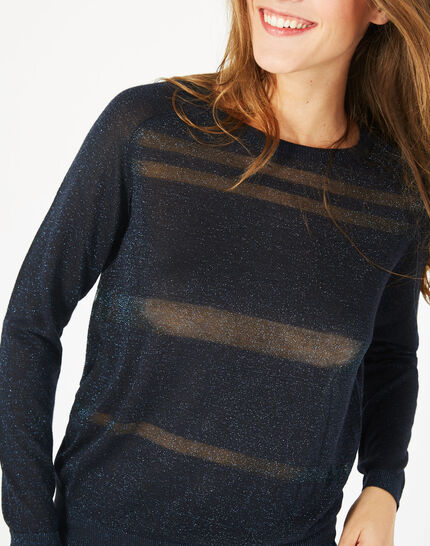Precieux navy blue shiny sweater with rounded neckline (3) - 1-2-3