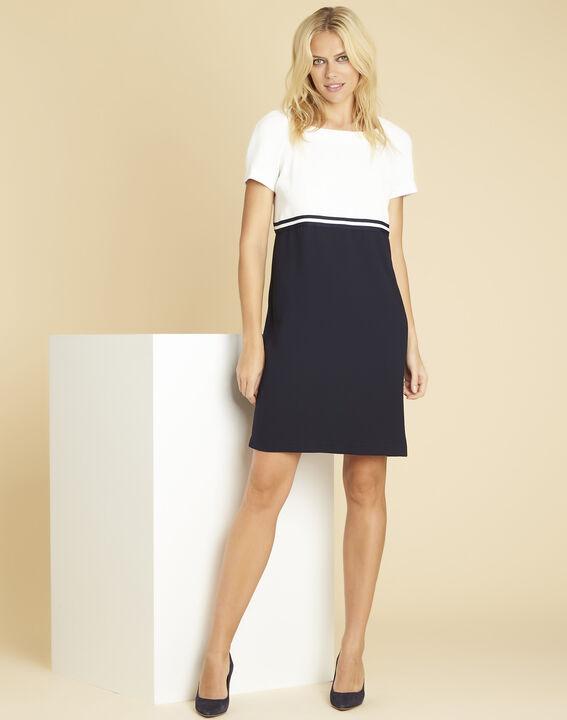 Schwarz-weißes Krepp-Kleid Dowen (3) - 1-2-3