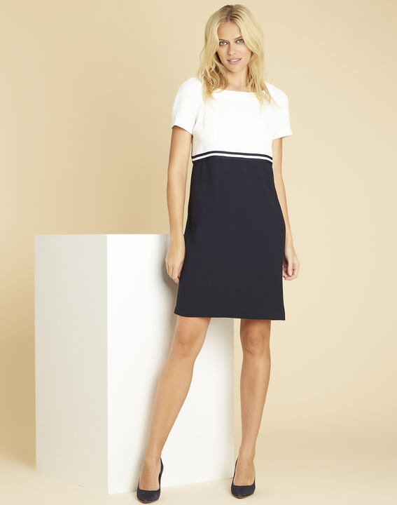 Zwart en witte jurk van crêpe Dowen (3) - 37653