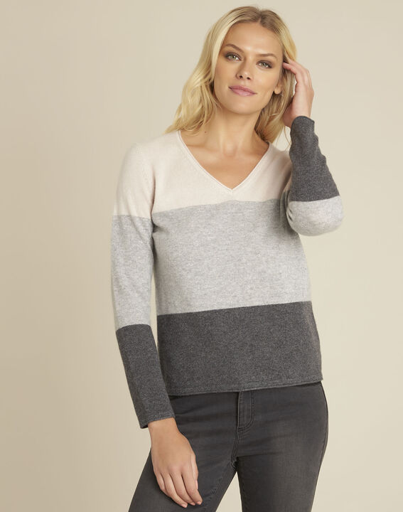 Band grey cashmere pullover with V-neck (2) - 1-2-3