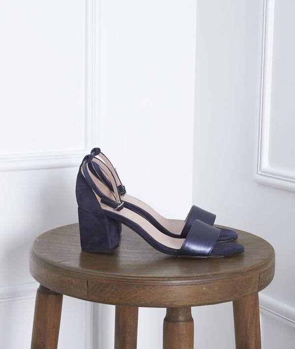 Sandales ouvertes bleues en cuir Khloe PhotoZ | 1-2-3