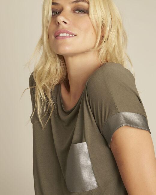 Tee-shirt kaki empiècement faux cuir Gimini (2) - 1-2-3