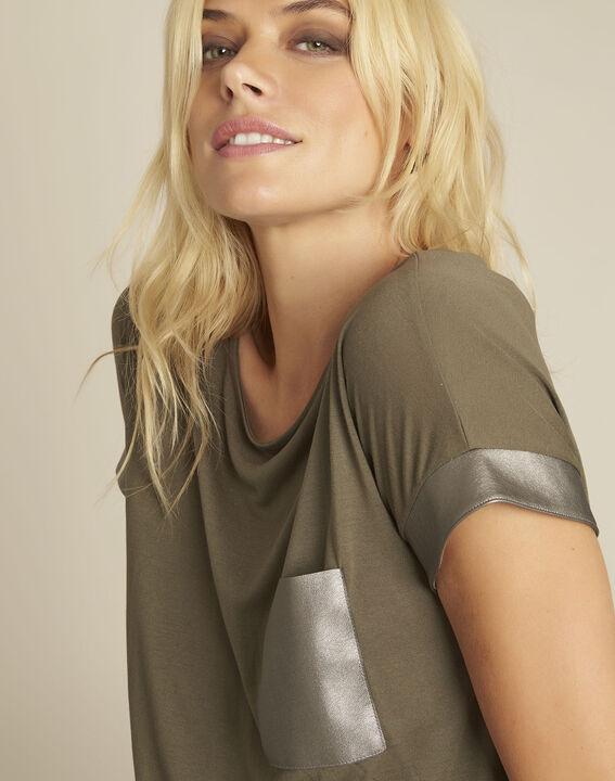 Tee-shirt kaki empiècement faux cuir Gimini (3) - 1-2-3