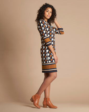 Delila graphic camel dress camel.