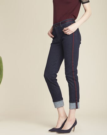 Vivienne navy jeans with burgundy side stripes navy.