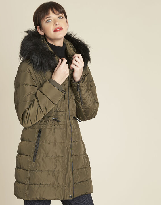Perrine khaki faux fur hooded down jacket (1) - 1-2-3
